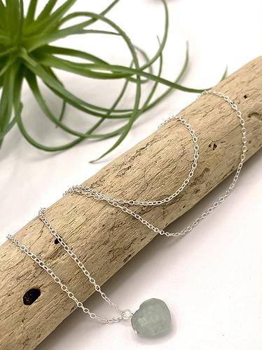 Aquamarine Heart Necklace