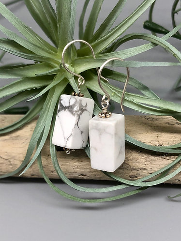 Howlite Block Earrings