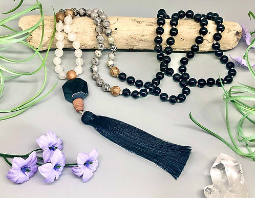 Black Tourmaline, Map Jasper, & White Jade Mala
