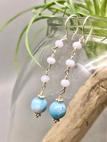 Larimar & Blue Lace Agate Earrings