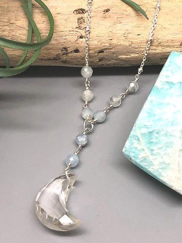 Quartz & Aquamarine Moon Necklace