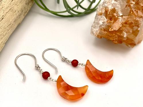 Carnelian Moon Earrings