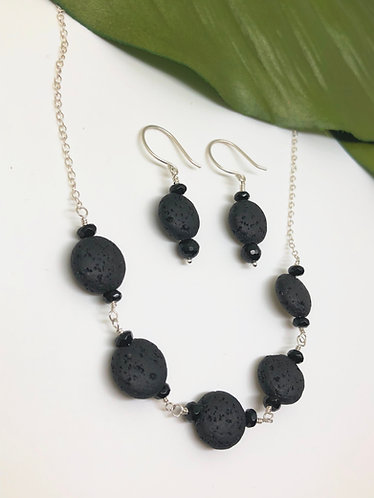 Lava Stone and Onyx on Sterling Silver