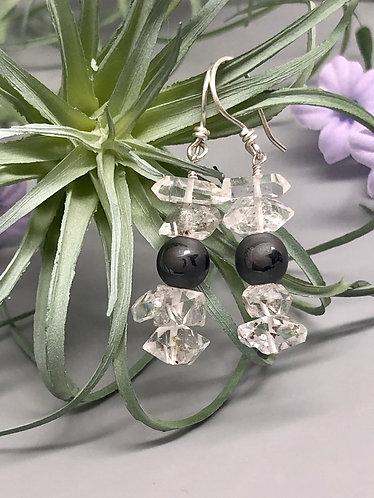 Herkimer and Hematite Celestial Earrings