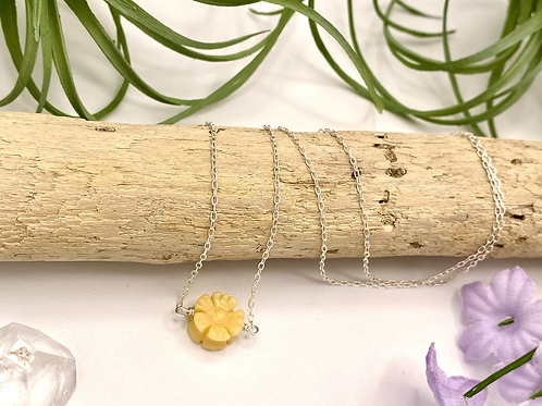 Yellow Jade Daisy Necklace