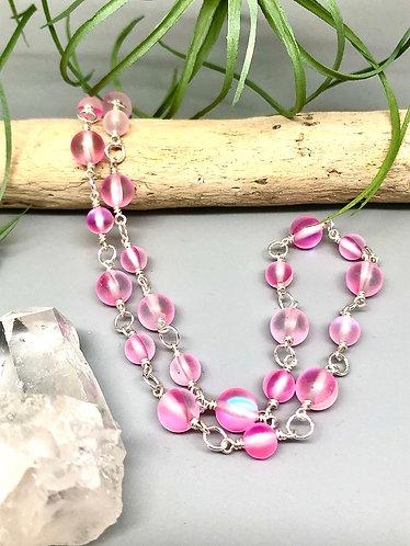 """Pink """"Mermaid"""" Aura Quartz Necklace"""