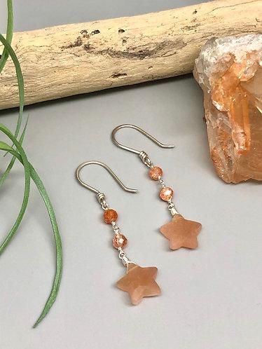 Moonstone Star Earrings