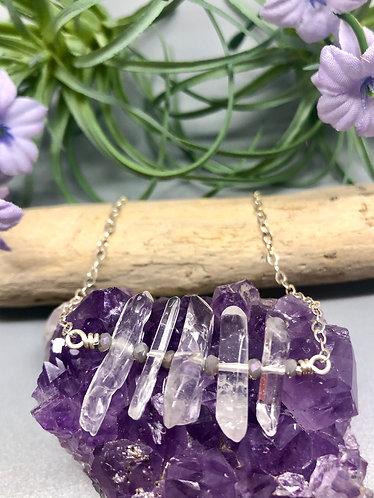 Quartz & Purple Crystal Necklace
