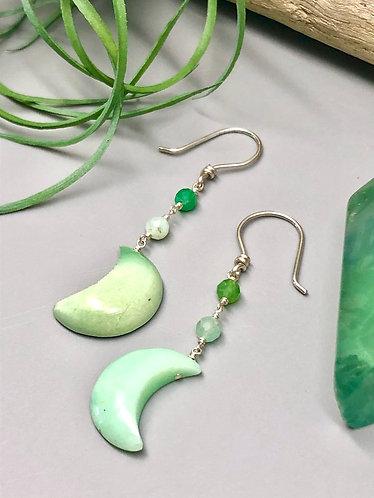 Chrysoprase Moon Earrings