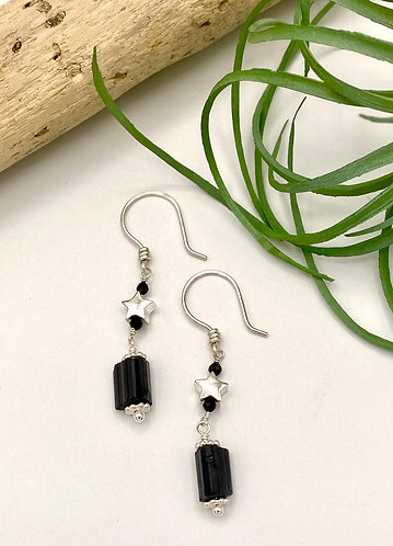Black Tourmaline Star Earrings