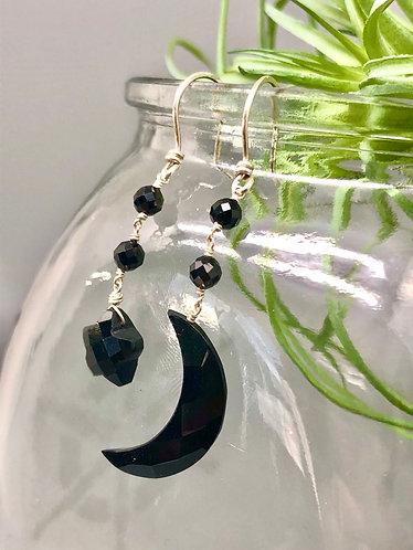 Onyx Moon & Star Earrings