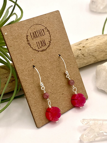 Pink Jade Daisy Earrings