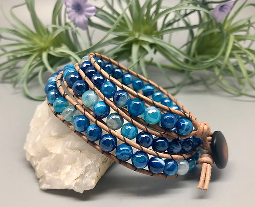 Blue Banded Agate Wrap Bracelet