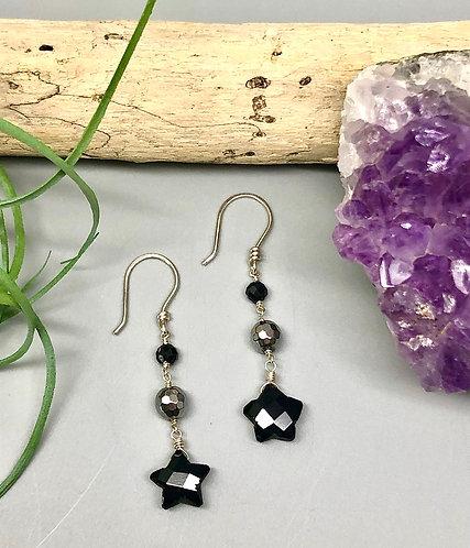 Onyx Hematite Star Earrings