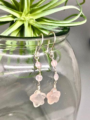 Rose Quartz Star Earrings