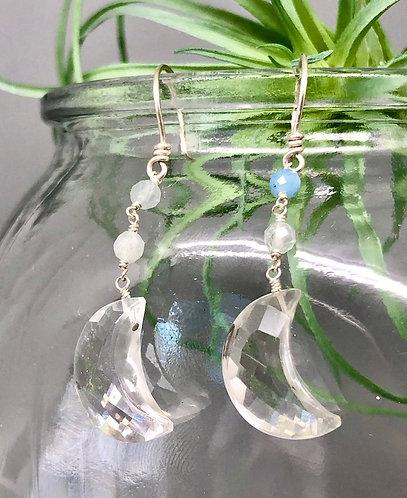 Clear Quartz Aquamarine Moon Earrings