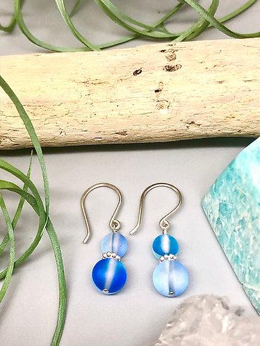 "Blue ""Mermaid"" Aura Quartz Earrings"