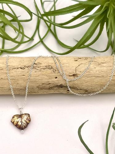 Amber Leaf Peeper Necklace