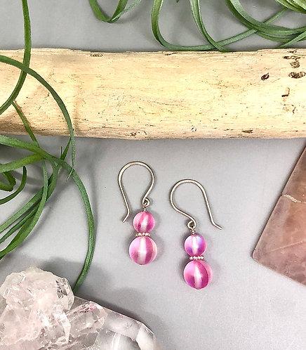 "Pink ""Mermaid"" Aura Quartz Earrings"