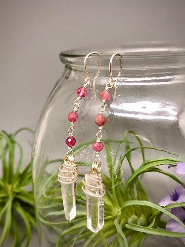 Pink Tourmaline and Quartz Drop Earrings