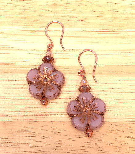 Soft Pink Hibiscus Earrings