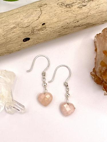Pink Opal Heart Earrings