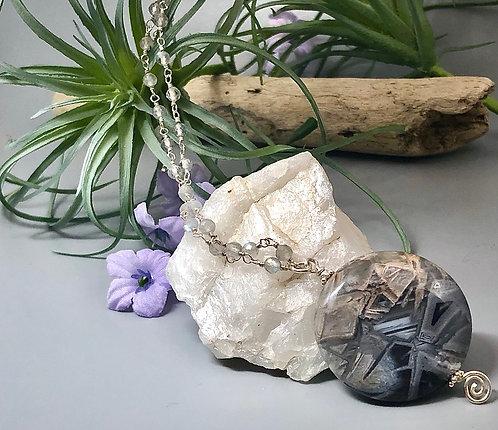 Silver Leaf Jasper and Labradorite Pendant Necklace