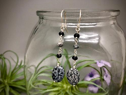 Snowflake Obsidian Oval Earrings