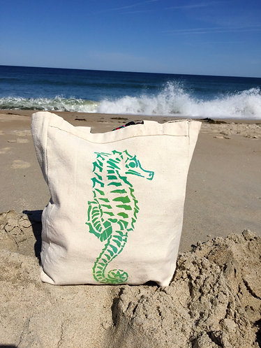 Seahorse Reusable Canvas Tote Bag