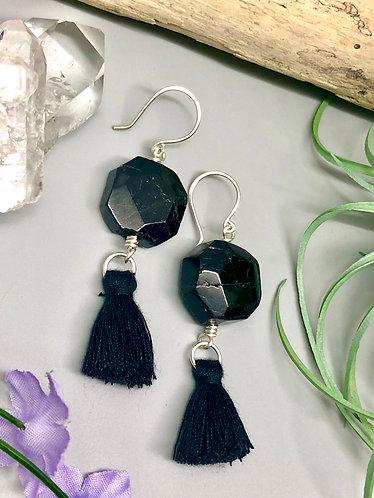 Black Tourmaline Tassel Earrings