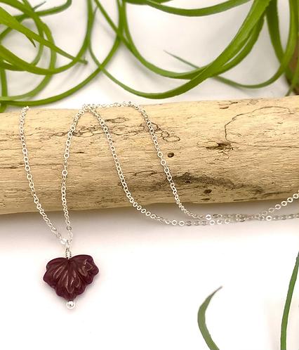 Burgundy Leaf Peeper Necklace