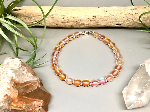 "Peach ""Mermaid"" Aura Quartz Bracelet"