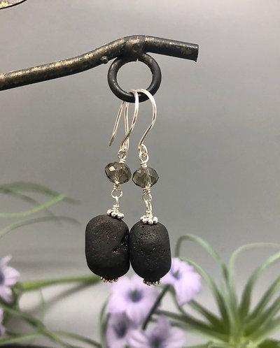 Black Druzy Pebble Earrings