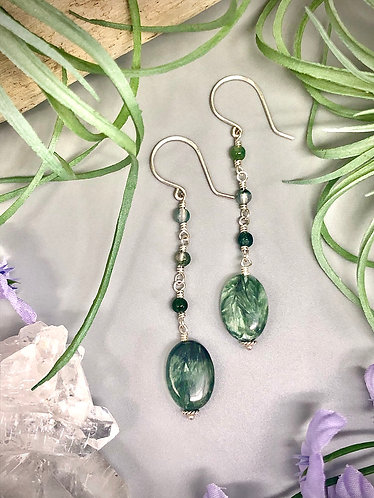 Seraphinite and Moss Agate Earrings