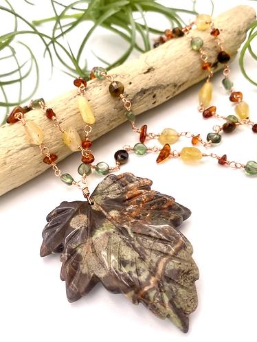 Ocean Jasper Leaf Pendant