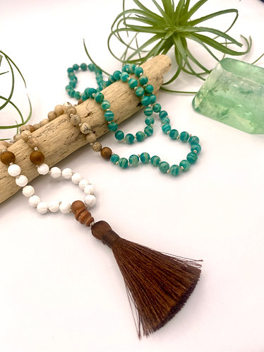 Russian Amazonite, African Opal and Lotus Flower Carved Tridacna Shell Mala