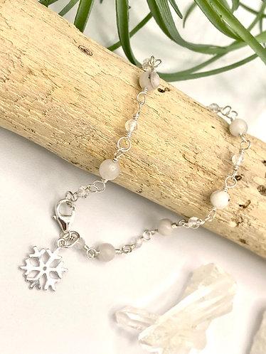 Agate Snowflake Charm Bracelet