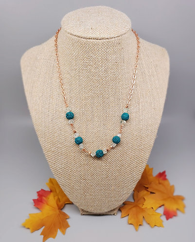 Fluorite and Lava Stone Copper Necklace