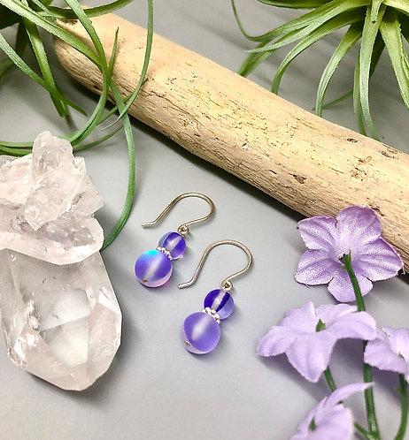 "Purple ""Mermaid"" Aura Quartz Earrings"