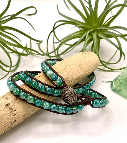 Green Silverite Agate Wrap Bracelet