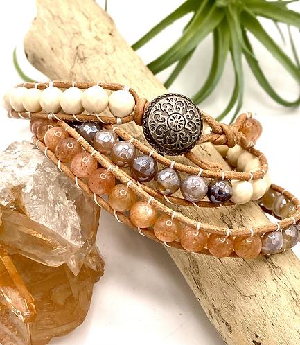 Jasper, Agate, & Sunstone Wrap Bracelet
