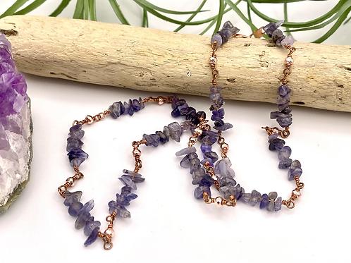 Iolite & Hematite Copper Necklace