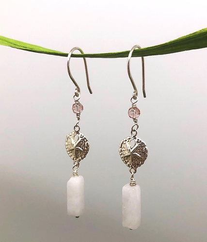 Sand Dollar Rose Quartz Earrings on Sterling Silver