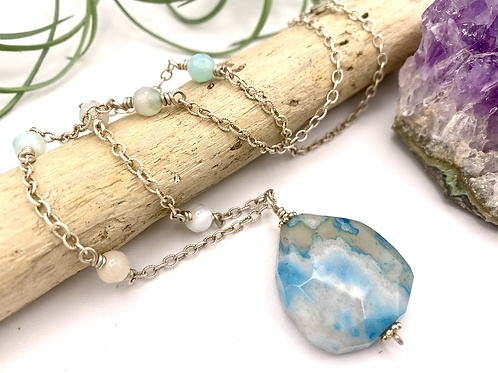 Cherry Blossom Agate & Aquamarine Pendant Necklace