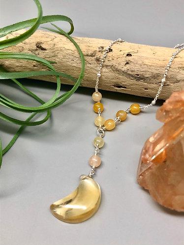 Citrine & Yellow Jade Moon Necklace
