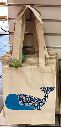 Whale Reusable Canvas Tote Bag