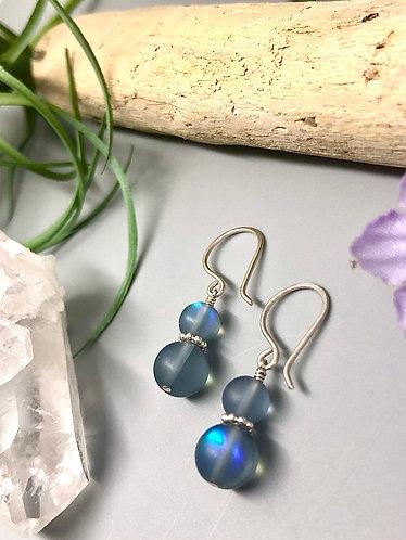 """Gray """"Mermaid"""" Aura Quartz Earrings"""