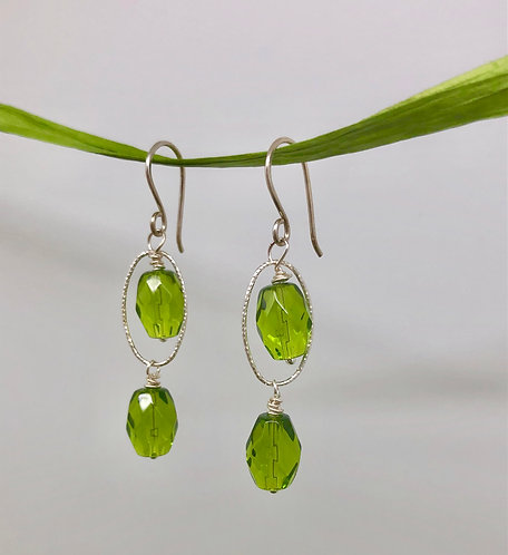 Green Faceted Glass on Sterling Silver Ovals