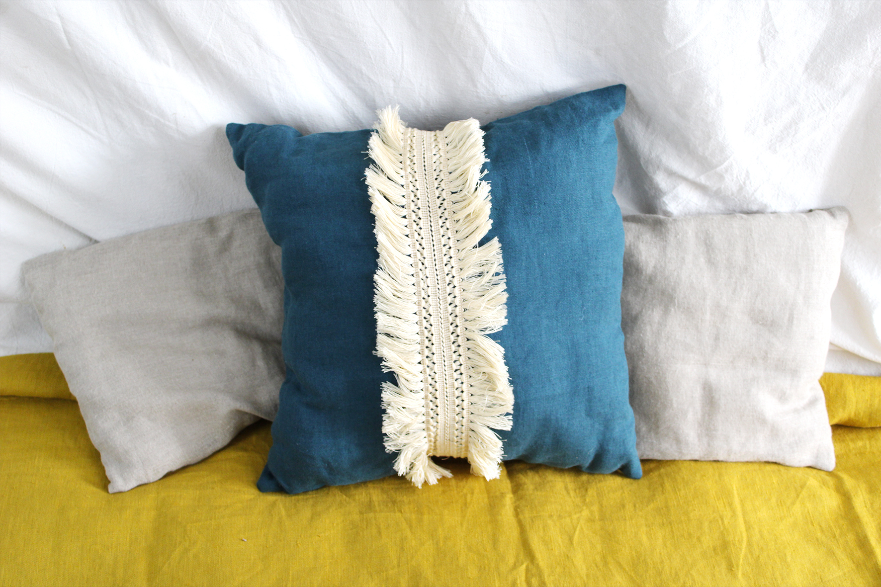 coussins décoratifs en lin lavé