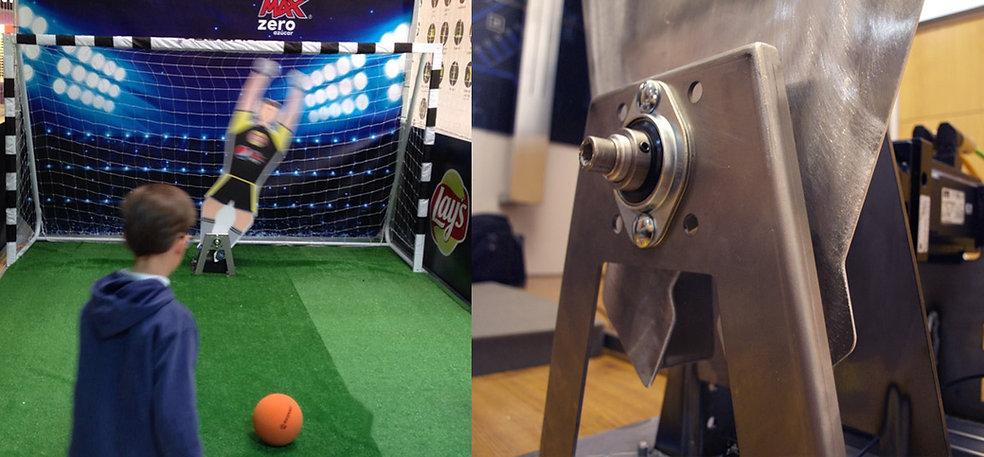 es un portero de fútbol robótico que detecta la trayectoria del balón mediante un software de reconocimiento de imágenes.